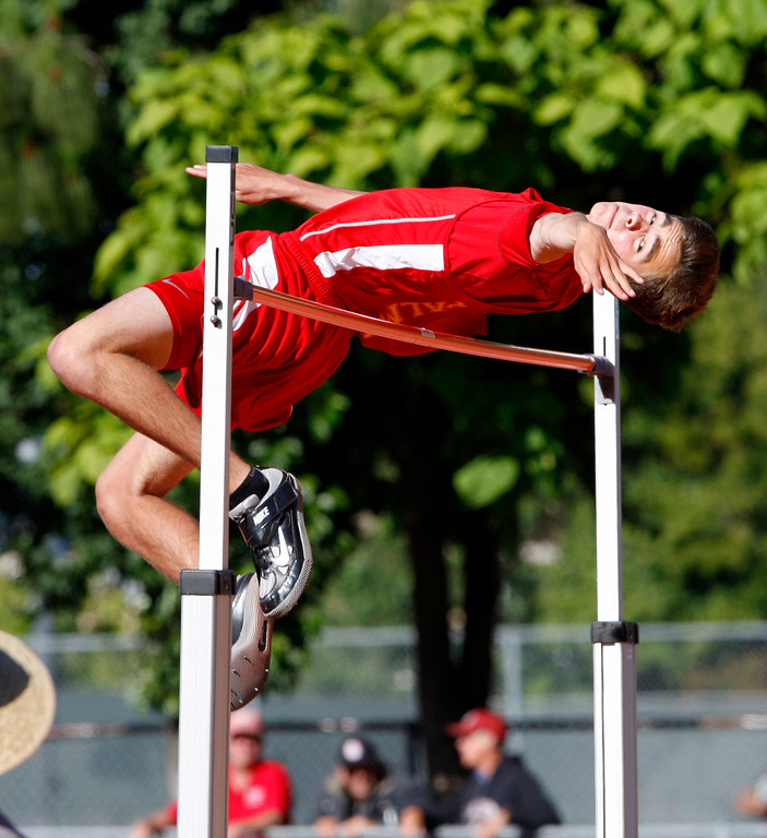 . Reno DiTullio from Palma competes in the high jump at the CCS Track and Field Championships at Gilroy High on Friday, May 26, 2017.   (Vern Fisher - Monterey Herald)