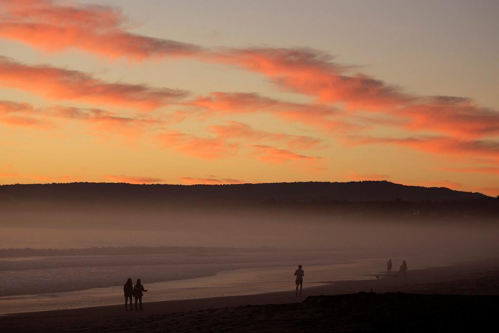 . Sunset at Seacliff State Beach in Aptos on Monday, Oct. 23, 2017.  (Vern Fisher - Monterey Herald)