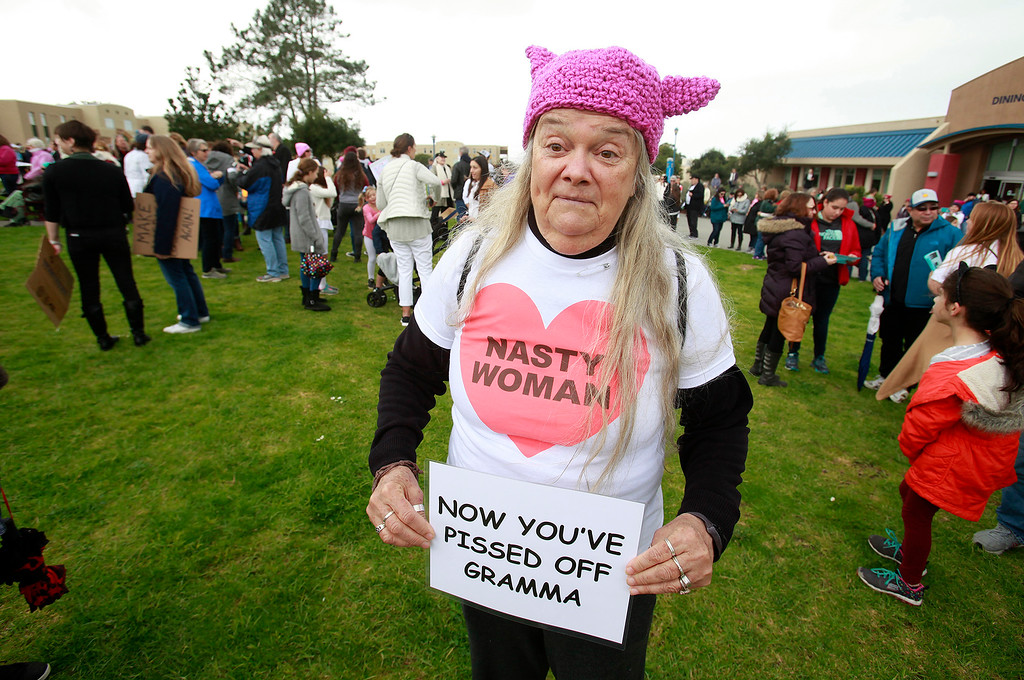 . Ann Malokas was one of an estimated 2,000 who attended the women\'s march at CSU Monterey Bay on Saturday, Jan. 22, 2017.  (Vern Fisher - Monterey Herald)