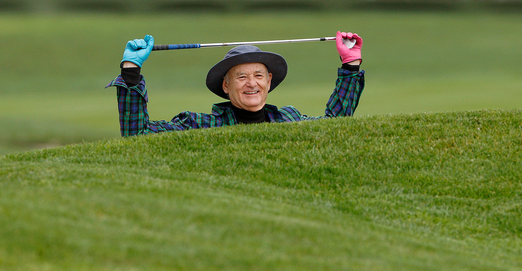 . Bill Murray prepares to hit from a bunker on the 3rd hole during the 3M Celebrity Challenge at the Pebble Beach Golf Links on Wednesday, Feb. 8, 2017 during the AT&T Pebble Beach Pro Am.  (Vern Fisher - Monterey Herald)