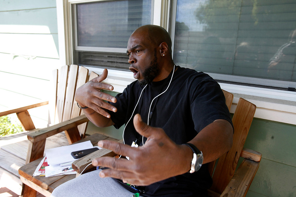 . Dyshon Hobson at his mothers Salinas home on Tuesday, April 19, 2016.  Hobson was with Terry Douglas Jacobs as the FBI made their move to arrest Jacobs for multiple robberies in numerous states.  (Vern Fisher - Monterey Herald)