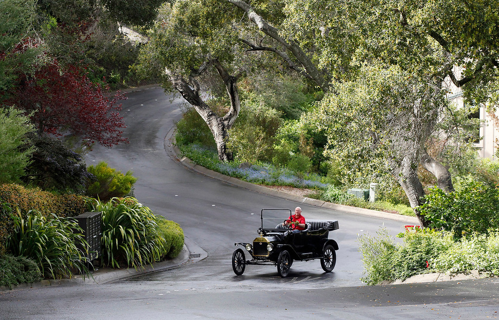 . Dave Hitchcock of Carmel Valley drives his 1916 Ford Model T on Monday, March 14, 2016.  Hitchcock is trying to sell the car after having owned it for several years.  (Vern Fisher - Monterey Herald)
