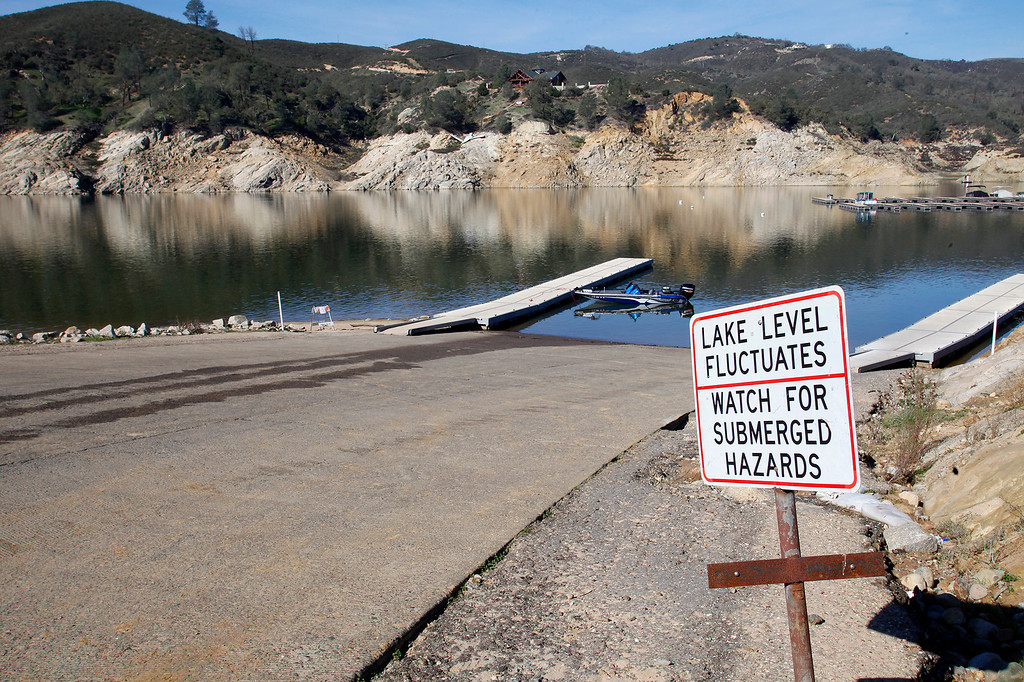 . The only working boat ramp due to low water at Lake Nacimiento in San Luis Obispo County on Tuesday, January 26, 2016.  The recent rains have raised the water level to 22% of capacity.  (Vern Fisher - Monterey Herald)