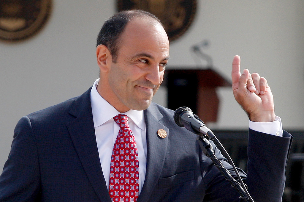 . Jimmy Panetta was master of ceremonies at the California Central Coast Veterans Cemetery opening ceremony on Tuesday, Oct. 11, 2016.  (Vern Fisher - Monterey Herald)