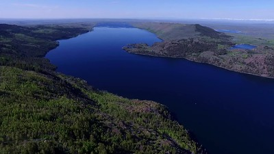 Flying out over Fremont Lake