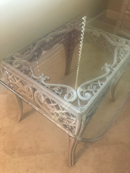 Glass top Side Table 28 x 24 x 21