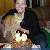 The night before, we celebrated our Katie's birthday; here with her cat, Sarge !