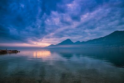 Lake Garda at dusk.