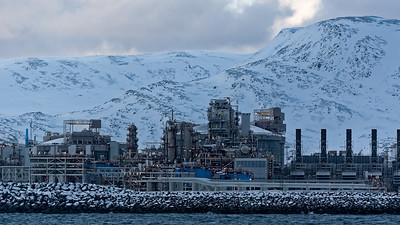 Melkøya in der Nähe von Hammerfest. Hier wird Flüssiggas erzeugt.