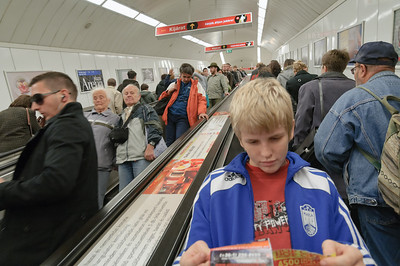 Die Rolltreppe hinunter zur Metro ist ungewöhnlich lang.