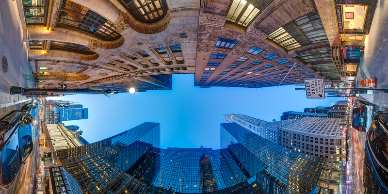 Chrysler Building on 42nd Street at the Blue Hour with Reflections, Vertical Vertigo NYC Series