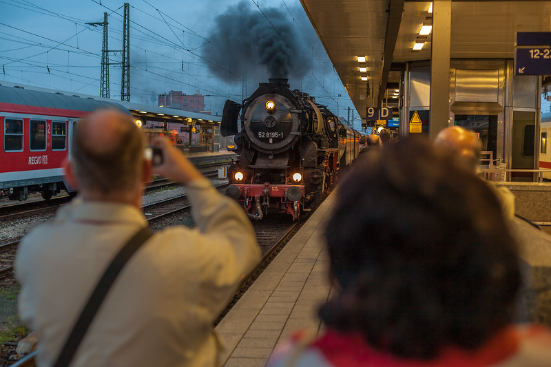 Steam train entering Nurember Main Station, Via steam train from Nuremberg, Germany, to Plzeň, a city in western Bohemia in the Czech Republic.