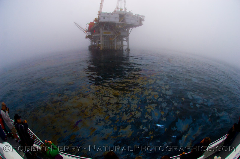 oil platform Holly fisheye oil on water 2008 09-27 Goleta Coast - 243