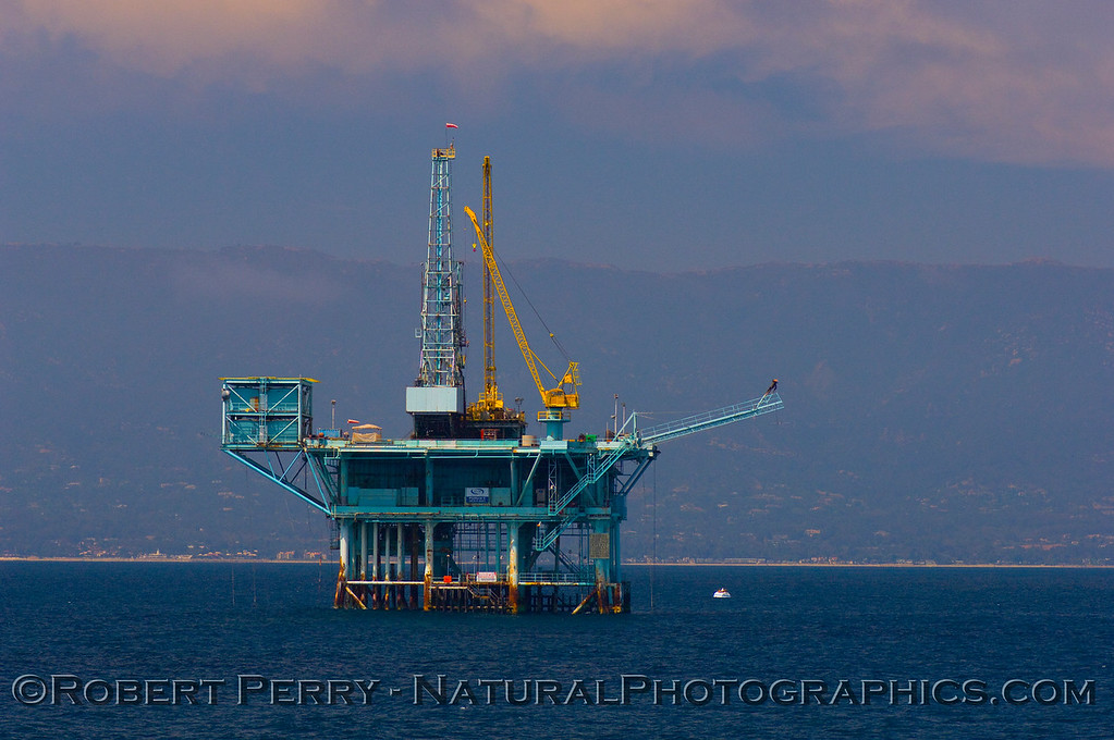 "Oil platform ""A"" in the Santa Barbara Channel.  The Summerland and East Santa Barbara beaches can be seen in the background."