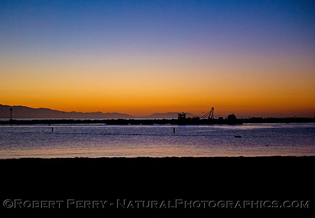 Sunrise Santa Barbara Harbor dredge barge Boney Ridge 2015 10-21 SB Coast-021