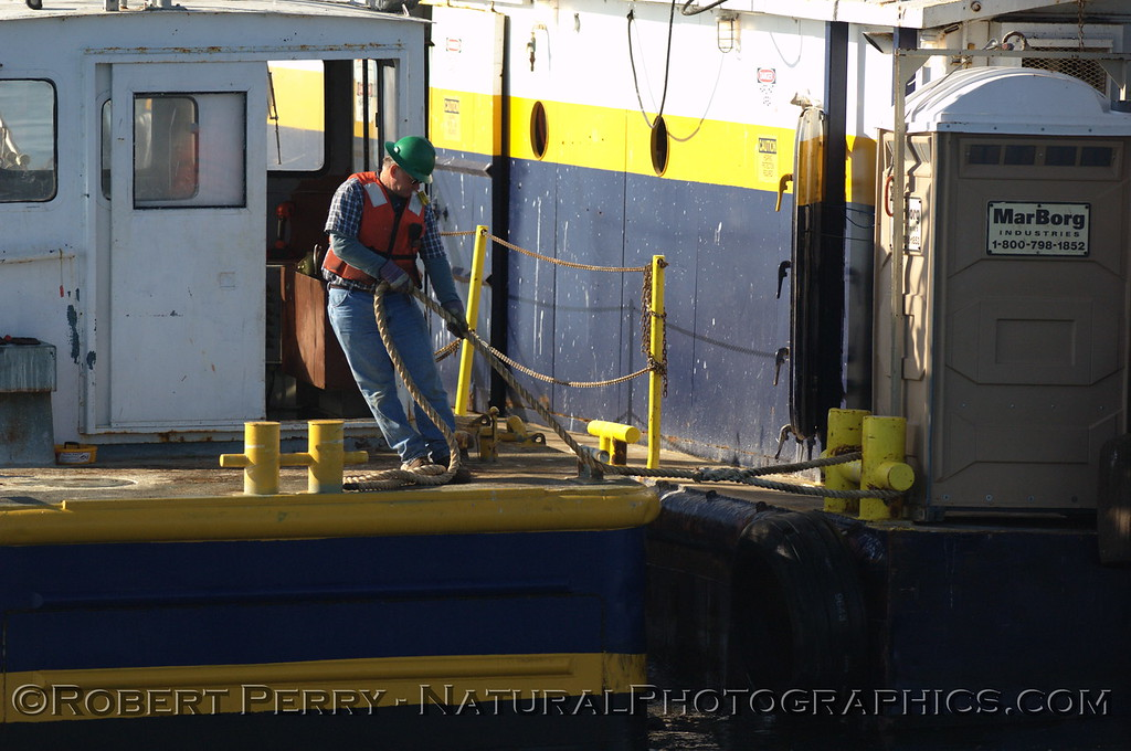 vessel work barge SB Dredge deck hand at work 2008 03-24 SB Channel -- 1008