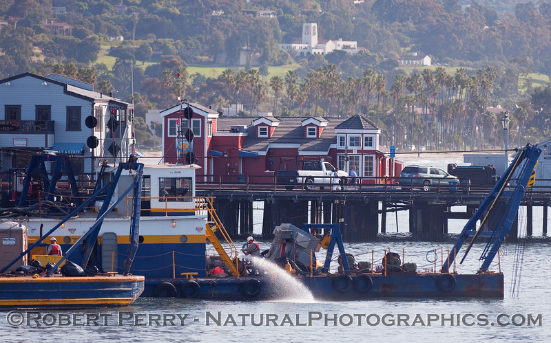 vessel Dredge Barge La Encina & Stearns Wharf in back 2010 03-27 SB Channel - 004