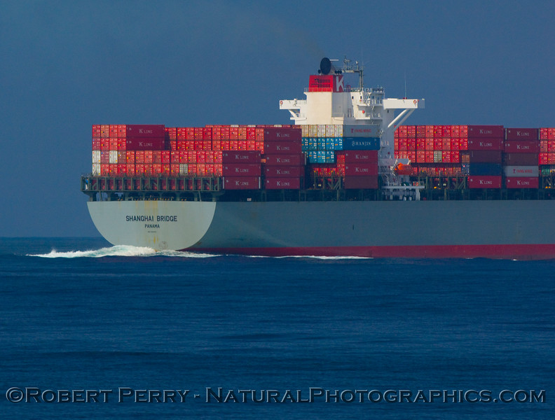 Container vessel Shanghai Bride in the north bound shipping lane.