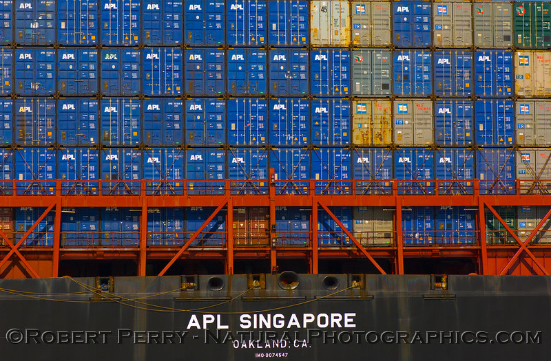 A close look at the stern of container vessel APL Singapore.