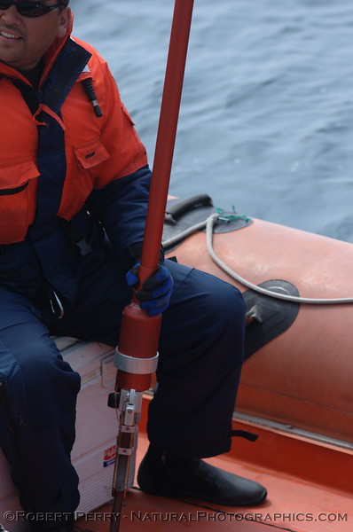 "Chase boat ""Hurricane"" from the R/V Pacific Storm on location in the Santa Barbara Channel studying blue whales (Balaenoptera musculus).  Crew member holds device used to tag animals."