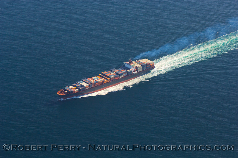 Container vessel, in the northbound shipping lane, Santa Barbara Channel.