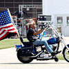 One of approximately 50 motorcycle enthusiast who helped escort the American Veterans Traveling Tribute Vietnam Wall on Wednesday afternoon from Greenup to Effingham. Charles Mills photo