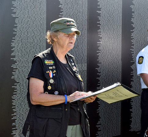 Retired Air Force Major Linda Pugsley was keynote speaker for the opening of Vet Fest 2018 Thursday. Vet Fest continues through Sunday on the Mid America Motorworks grounds. Charles Mills photo