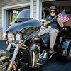 Korean War Veteran, George Werber, 87, of Westford is ready for his surprise motorcycle ride organized by his daughter Peggy Martin and the NH riding group, Forged Alliance. SUN/Caley McGuane