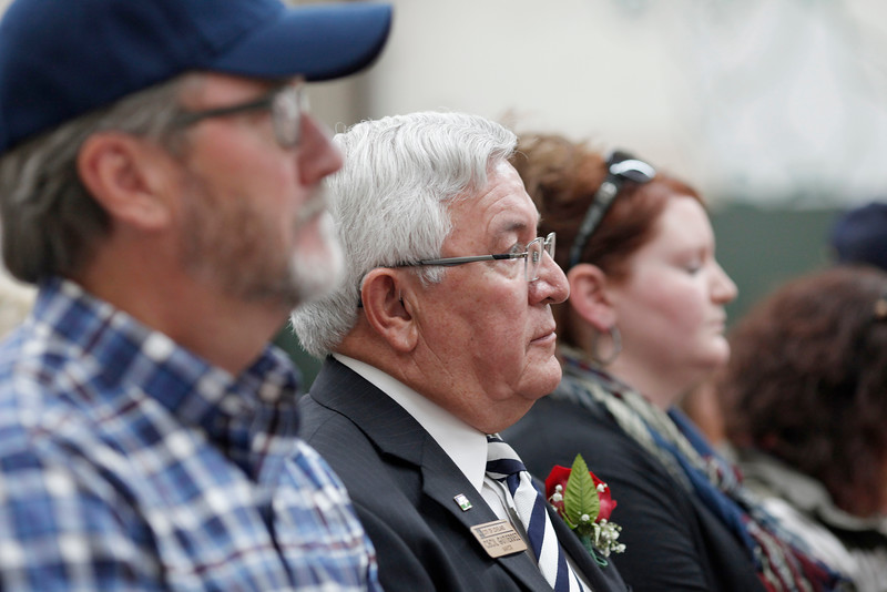 Jeff Swanty and Cecil Gutierrez watching a Veterans Day presentation by third and fourth grade students at Big Thompson Elementary School on Tuesday, Nov. 10, 2015 in Loveland. (Photo by Trevor L. Davis/Loveland Reporter-Herald)