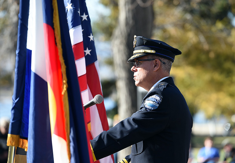 Loveland Police Chief Robert Ticer speaks during the Veterans Day ceremony Friday, Nov. 11, 2016, at Dwayne Webster Veteran's Park in Loveland. (Photo by Jenny Sparks/Loveland Reporter-Herald)