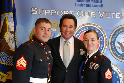 Sgt. Anthony Lavazza, Wayne Newton and SSG Laura Biggar