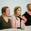 Kristin King speaks during a roundtable discussion on the topic of student veterans transitioning to civilian life was held at Fitchburg State University on Tuesday afternoon. Seated next to her are fellow student veterans Victoria Muise and Nic Van Landeghem. SENTINEL & ENTERPRISE / Ashley Green
