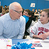 Samoset Middle School sixth grader Megan Meuse, 11, chats with her grandfather Specialist Five Raymond Delgiudice during the veterans lunch at the school on Thursday. SENTINEL & ENTERPRISE/JOHN LOVE