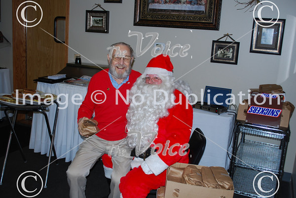 Fox Valley Veterans visit by Santa at Grandma's Table in Montgomery, IL December 22, 2011