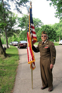 WW II Veteran gets ready to present the colors at Soldiers Rest