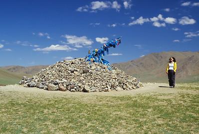 """""""Ovoo"""", a shamanic sacred cairn, Terelj National Park, Mongolia"""