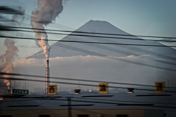 Mt. Fuji from Tokaido shinkansen, Osaka-Tokyo line, Japan
