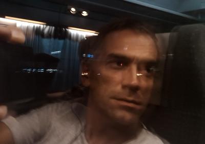 Self portrait on the train Busan-Seoul, Republic of Korea, 2010