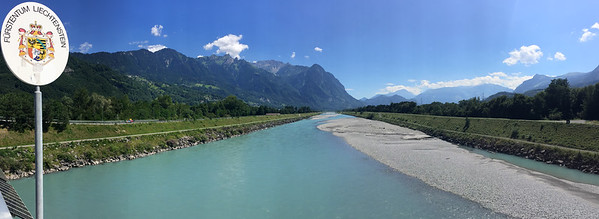 The Rhine river at the border between Liechtenstein and Switzerland