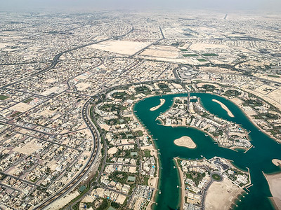 Flying over Doha, Qatar