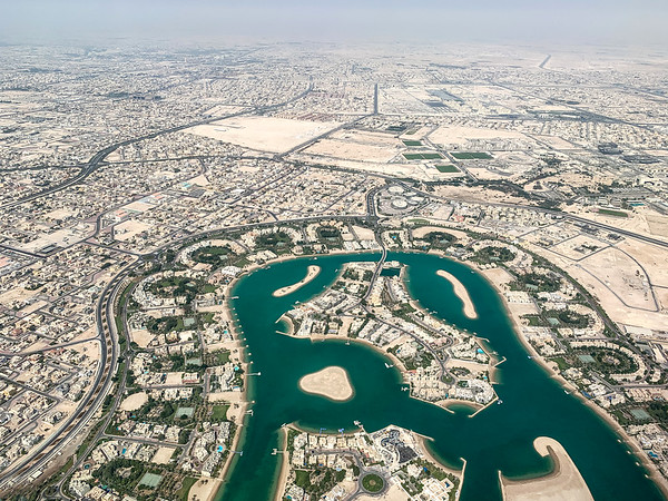 Flying over Doha, Qatar