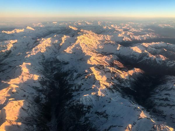 Monte Rosa range, flying over the Alps