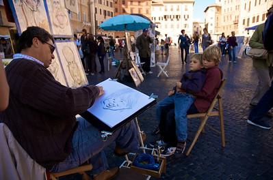 No podíamos irnos de Piazza Navona sin una caricatura...