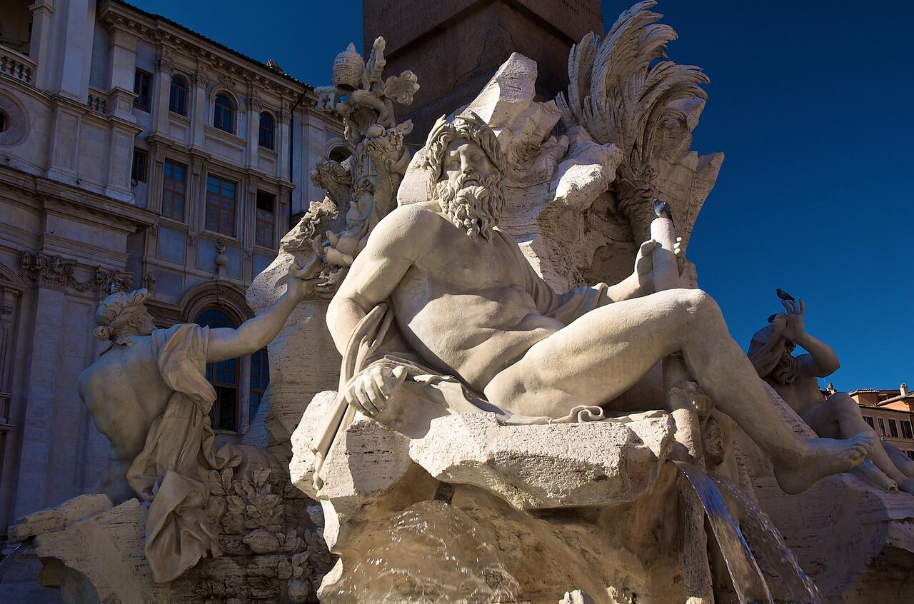 Fontana dei Fiumi, en Piazza Navona, Bernini.