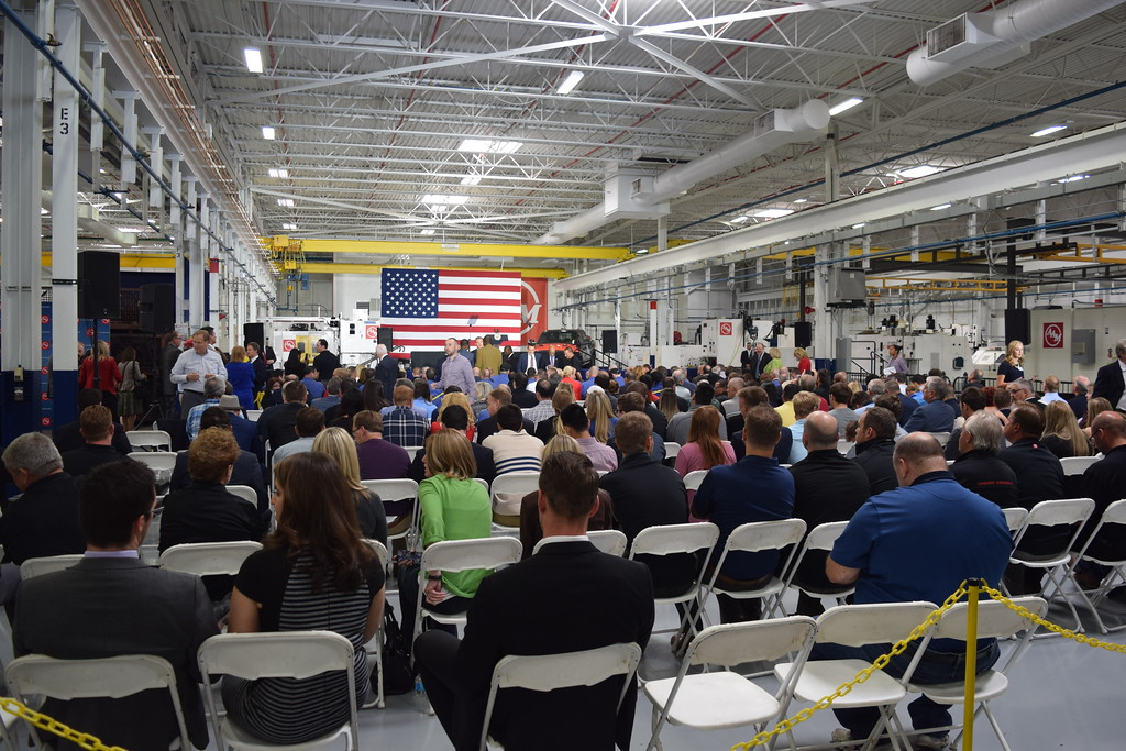 . Vice Presisdent Mike Pence speaks to fellow Michigan residents during a visit to American Axle and Manufacturing in Auburn Hills, Mich., on Thursday, Sep. 28, 2017. Pence spoke about the tax reform proposal developed by the Trump Administration and the House Ways and Means Committee and the Senate Finance Committee. (Mark Cavitt/The Oakland Press)