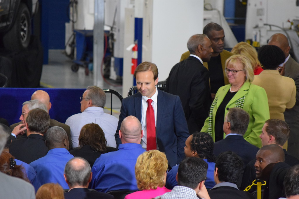 . Lt. Gov. Brian Calley speaks to fellow Michigan residents during Vice President Mike Pence\'s visit to American Axle and Manufacturing in Auburn Hills, Mich., on Thursday, Sep. 28, 2017. Pence spoke about the tax reform proposal developed by the Trump Administration and the House Ways and Means Committee and the Senate Finance Committee. (Mark Cavitt/The Oakland Press)