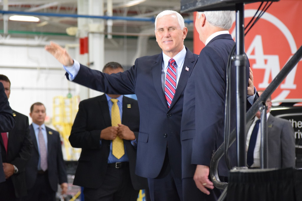. Vice President Mike Pence visits American Axle and Manufacturing in Auburn Hills, Mich., on Thursday, Sep. 28, 2017. Pence spoke about the tax reform proposal developed by the Trump Administration and the House Ways and Means Committee and the Senate Finance Committee. (Mark Cavitt/The Oakland Press)