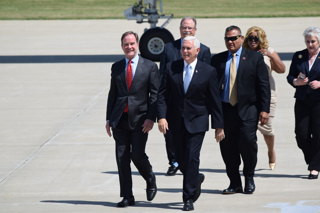 . Vice President Mike Pence landed at Oakland County International Airport in Waterford on Friday, June 15, 2018, before attending a private campaign fundraiser for Michigan Attorney General, and gubernatorial candidate, Bill Schuette. He also spoke about tax cuts in Rochester and toured Frank Rewold and Sons\' new company headquarters, a construction company. (Mark Cavitt/The Oakland Press)