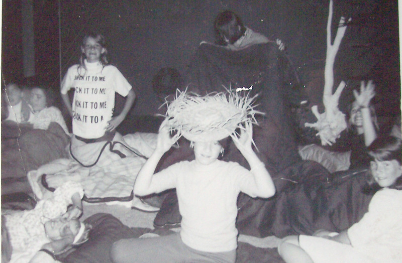"10th Birthday Party / 5th grade - Orange, California - 1967<br /> Left - Carol Villenueve, Patty Gallardo, Nancy Derickson<br /> Back - ??, Debbie Abrego?, Vicki Skinner (in ""Sock it to me"" shirt), Ingrid Nurmberg, Amy Sproul"