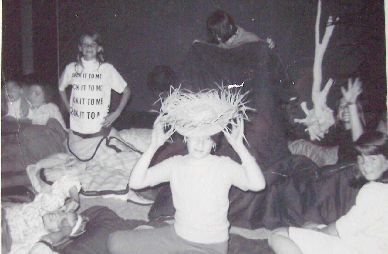 "10th Birthday Party / 5th grade - Orange, California - 1967 Left - Carol Villenueve, Patty Gallardo, Nancy Derickson Back - ??, Debbie Abrego?, Vicki Skinner (in ""Sock it to me"" shirt), Ingrid Nurmberg, Amy Sproul"